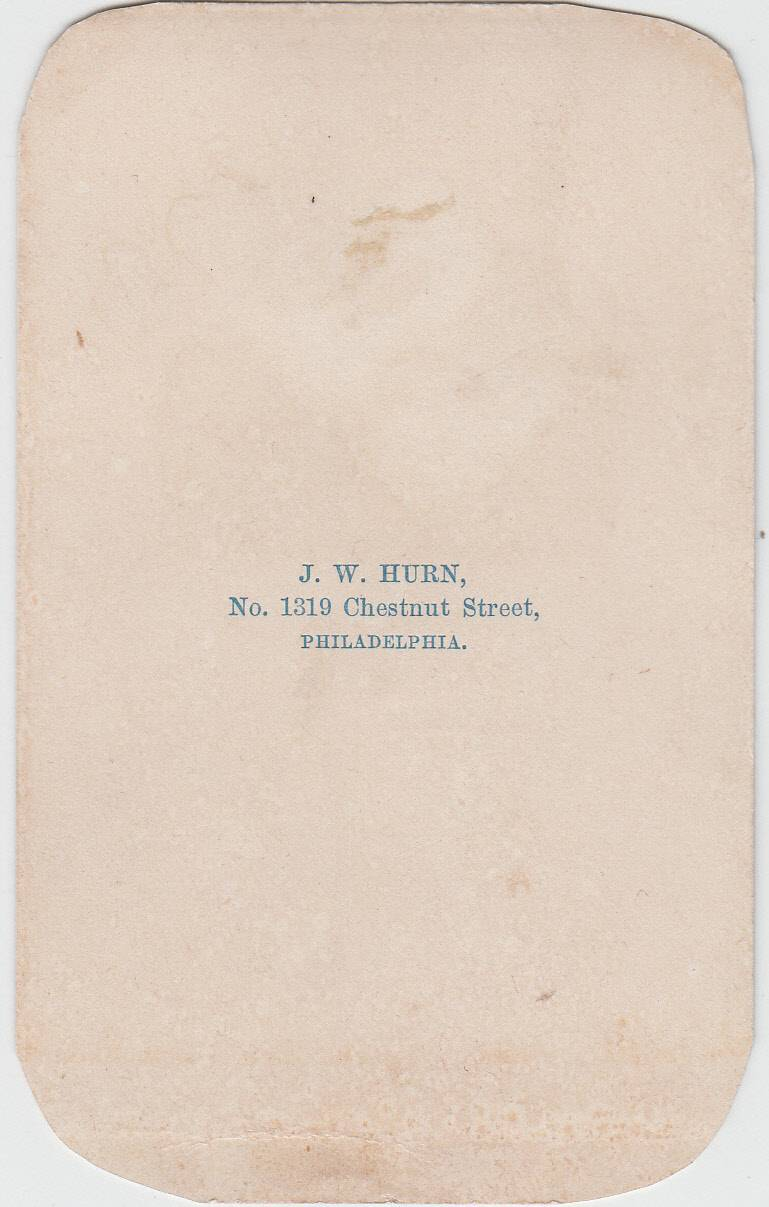 J. W. Hurn, photographer, of Philadelphia, PA - back