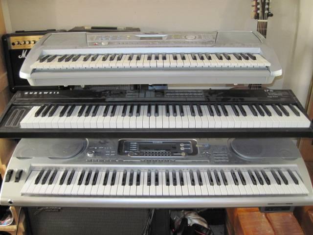 My Keyboard Rig.  Kurzweil, Yamaha and Yep...gotta have the Casio. lol