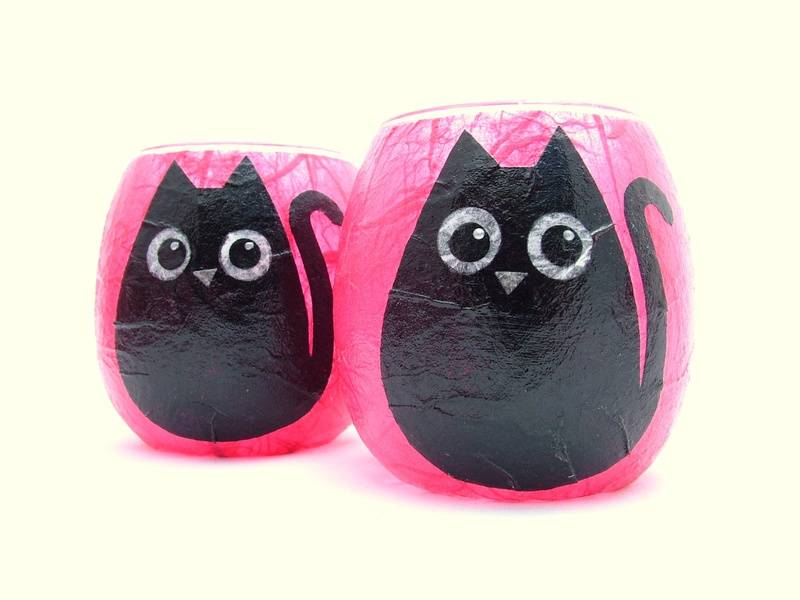Shocking Pink and Black Cat (small tealight holder only)