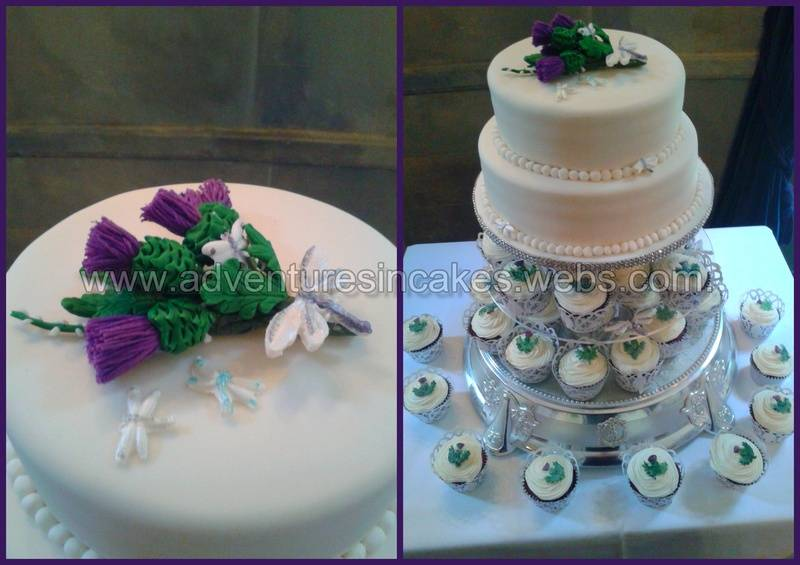 Thistle, Heather and Dragonfly wedding cake