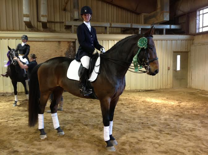 Lee Reilly and Drifters Way at 3rd level at USDF Region 1 championships