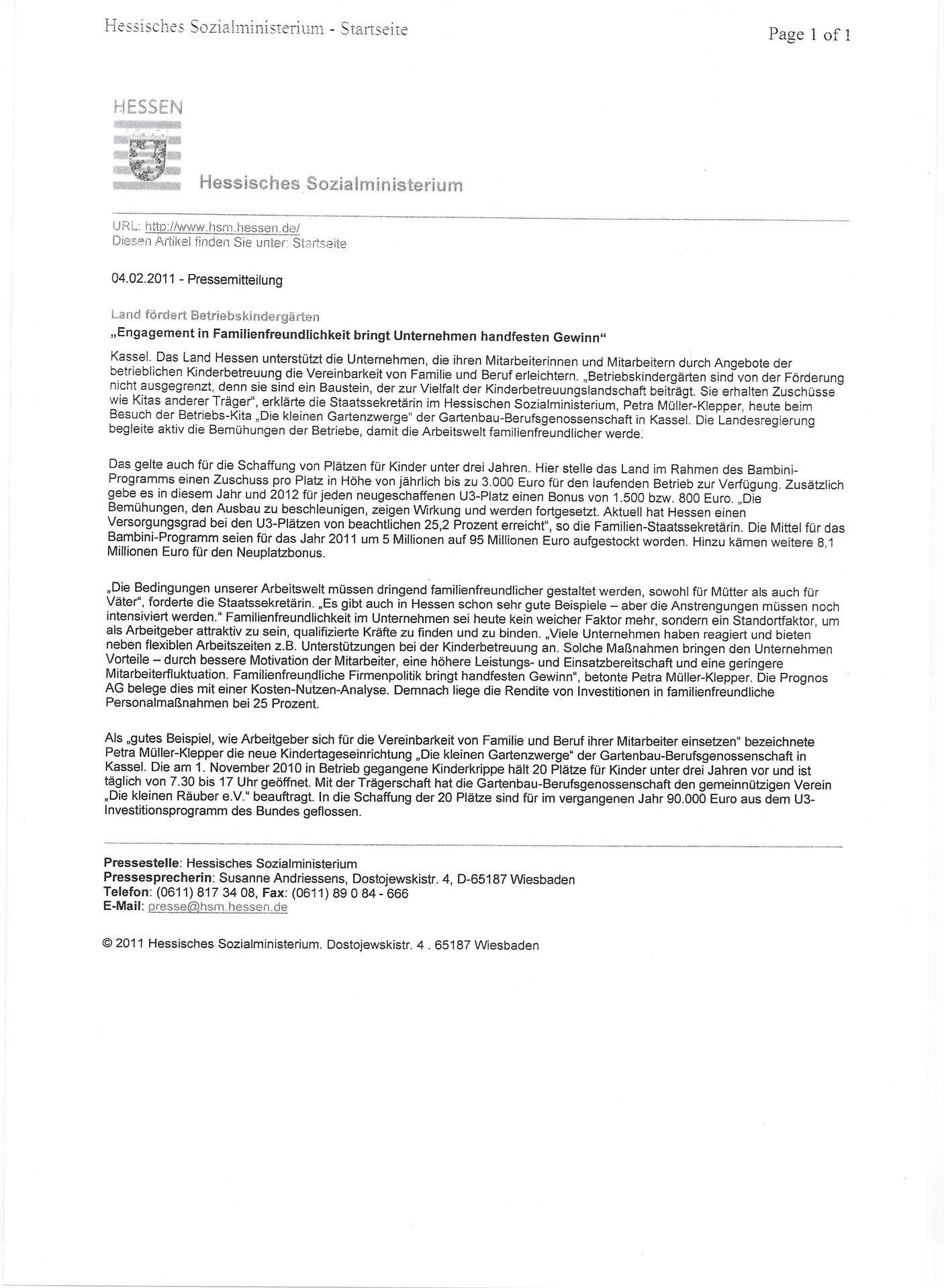 Pressemitteilung Land Hessen