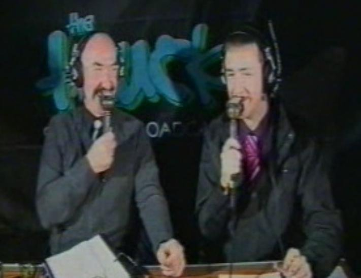 Sharing a joke with Liam on air