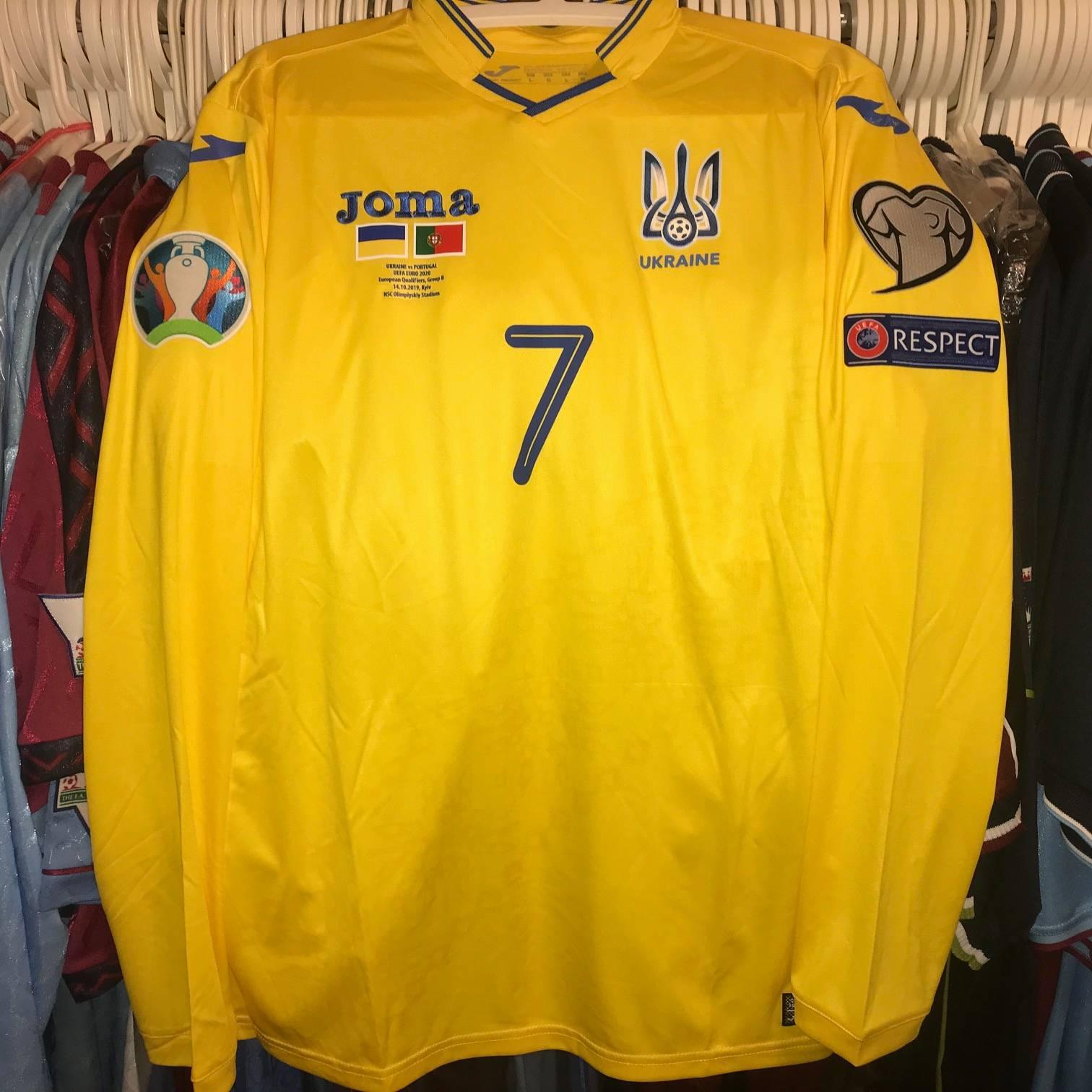 Andriy Yarmolenko Euro 2020 home shirt.