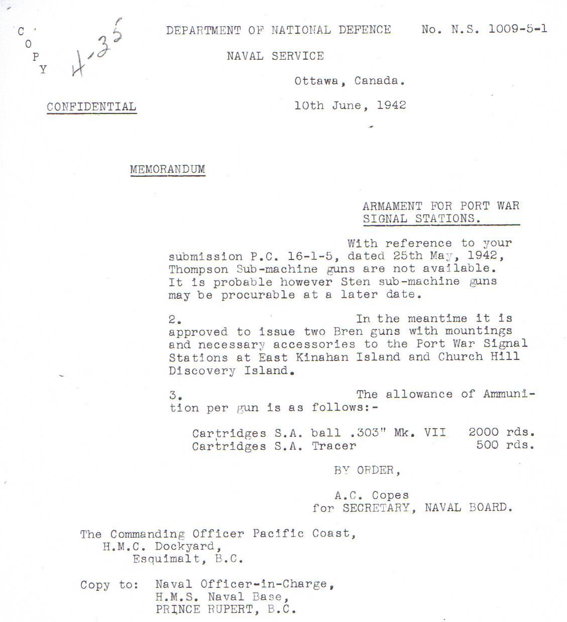 WW2 signal station requesting a machine gun. 1942