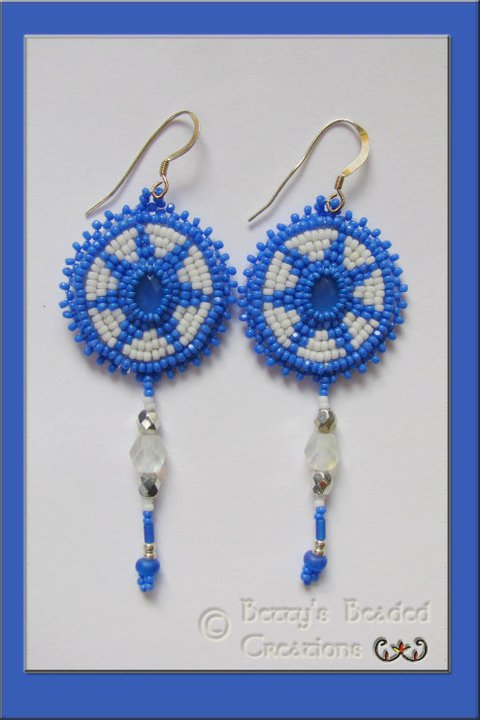 Bead Embroidered Chalcedony Cabochon Earrings