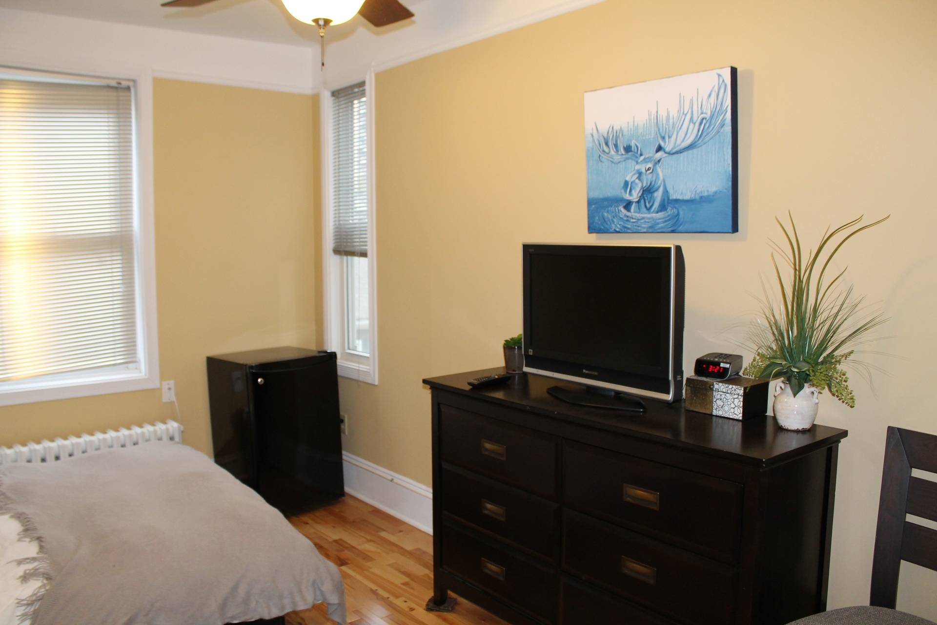 Dresser and bed area