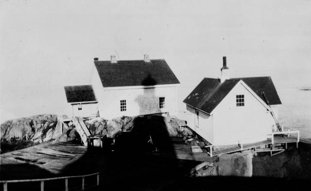 Old and new fog alarm buildings at the Discovery Island Light station in 1934.