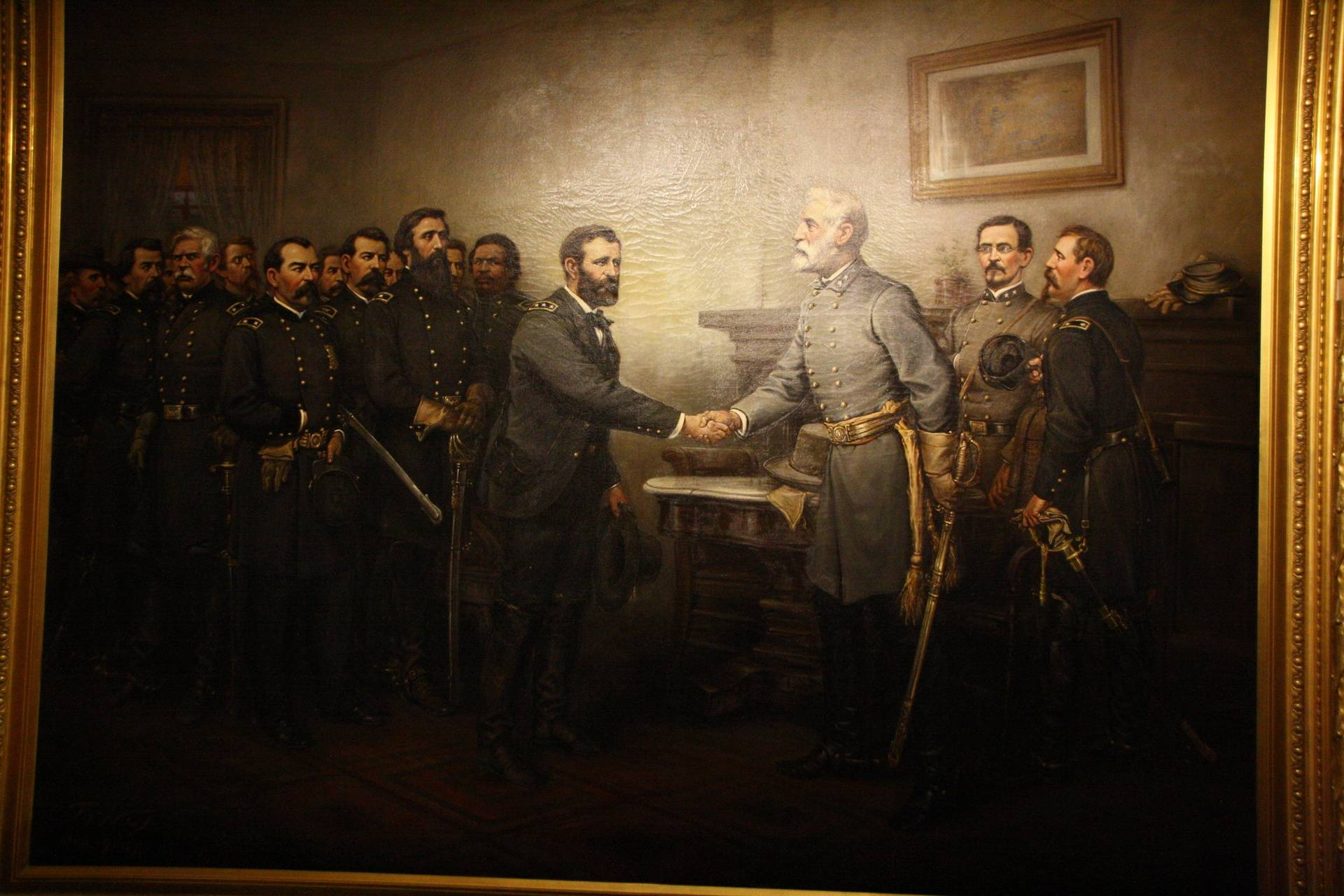 Painting of Lee's surrender to Grant, Galena IL