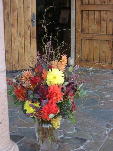 Dahlia arrangement in vase #2