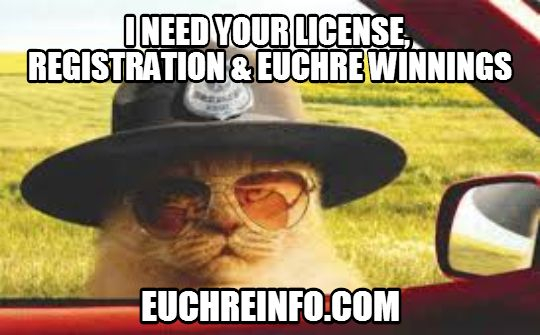 I need your license, registration & Euchre winnings.