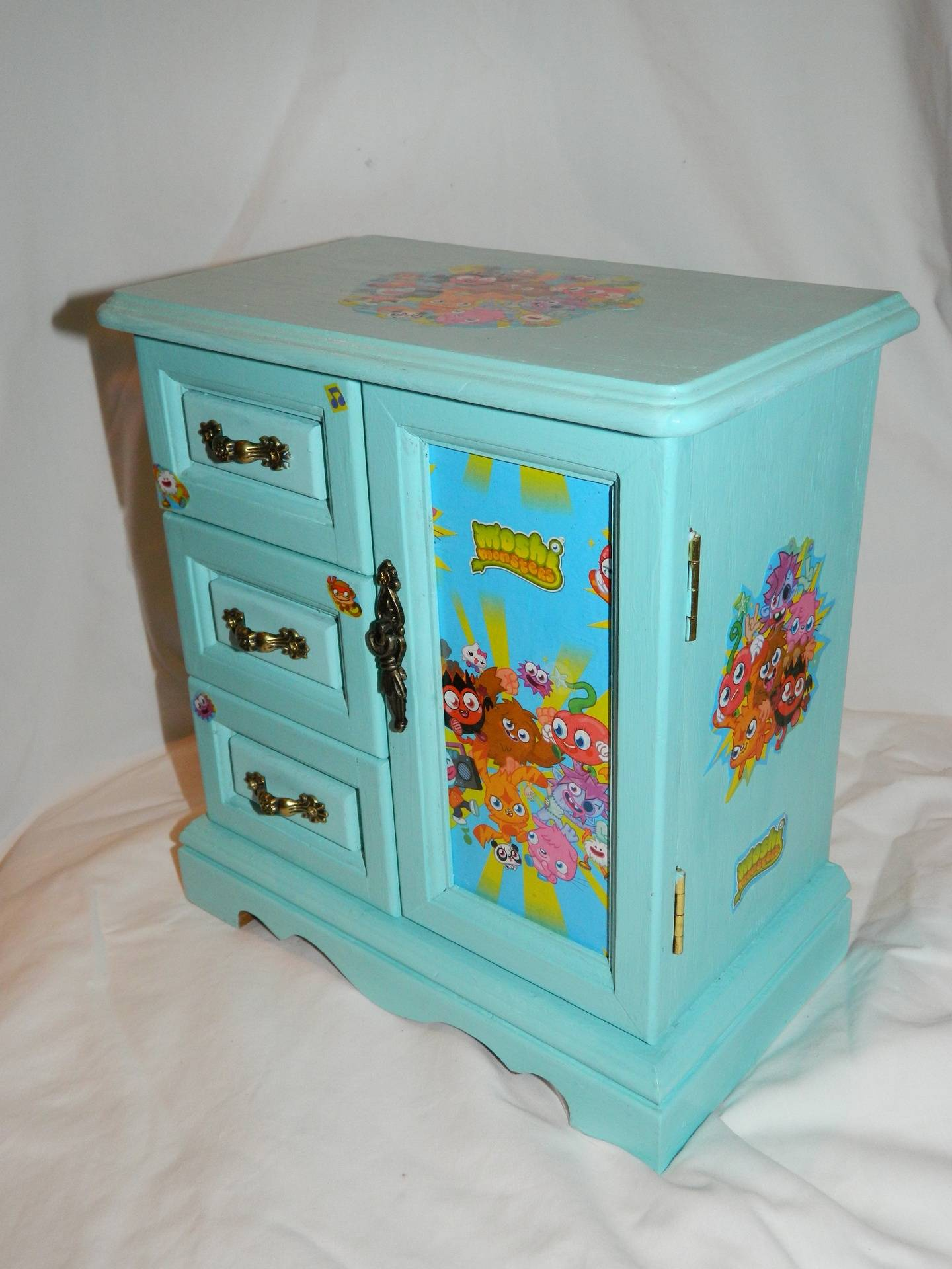 Blue with moshi monsters decoupage