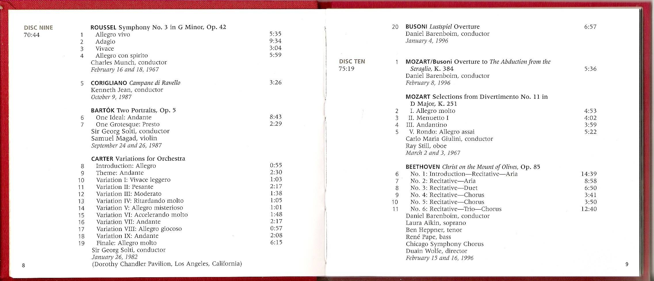 Chicago Symphony Orchestra - From The Archives: The CSO in the 20th Century: Collector's Choice, 10-CD set (2000) (page 5 of 5)