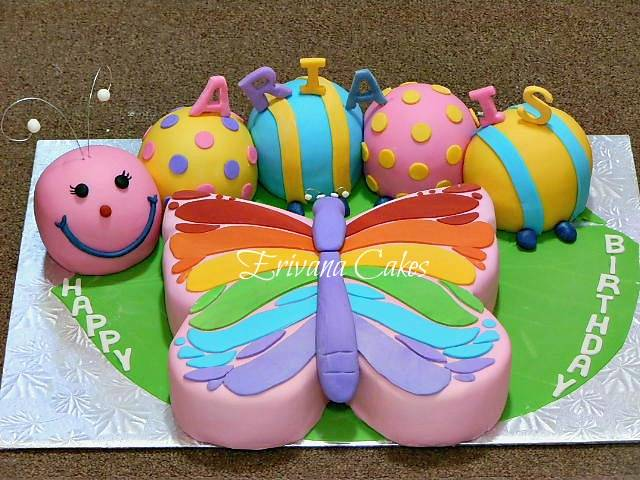 Caterpillar and  Rainbow Butterfly  Cake