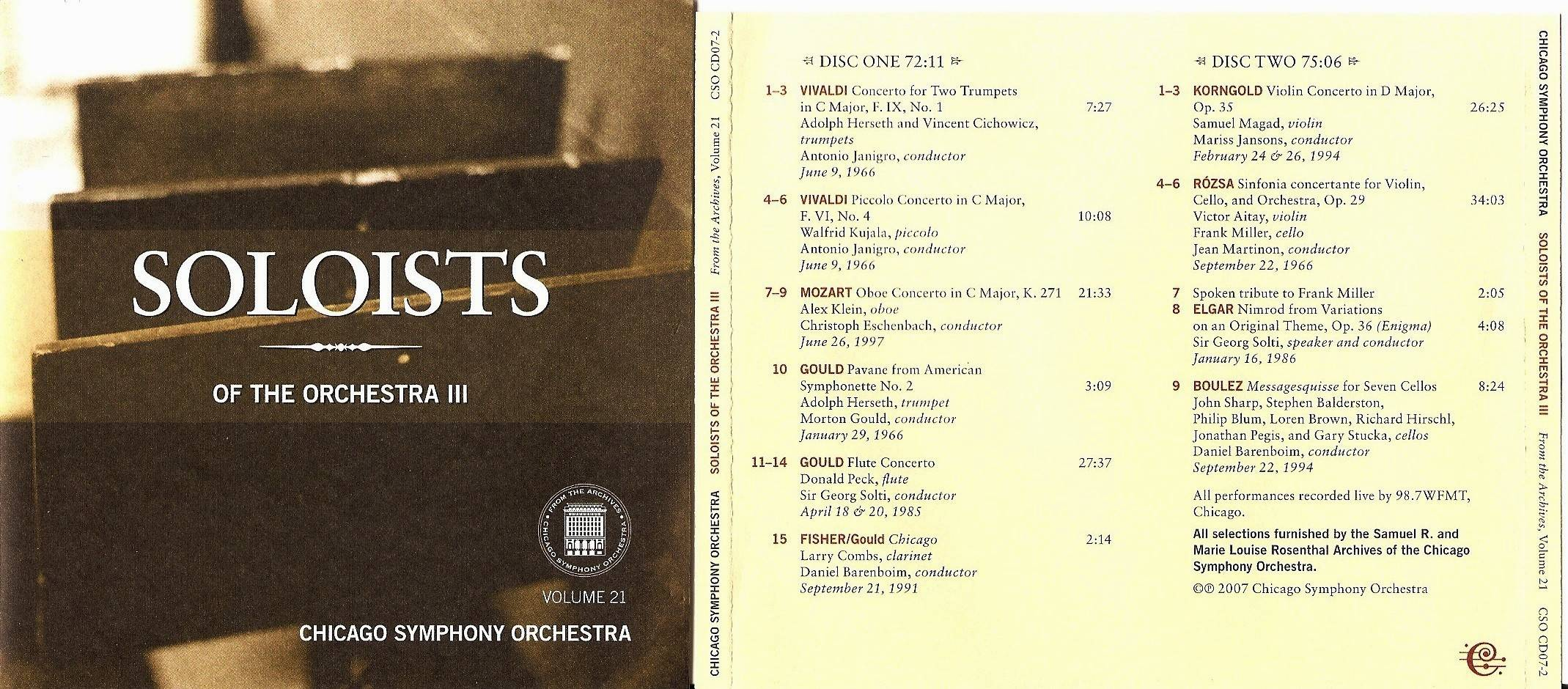 Chicago Symphony Orchestra - From the Archives, Vol.21: Soloists of the Orchestra III, 2-CD set (2007)