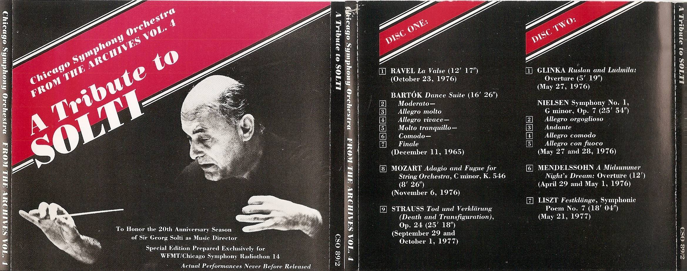 Chicago Symphony Orchestra - From The Archives, Vol.4: A Tribute to Solti, 2-CD set. (1989)