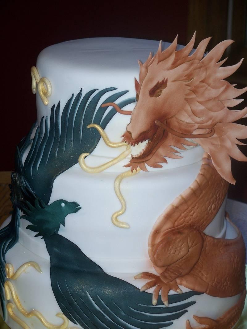 Dragon and Pheonix Wedding cake