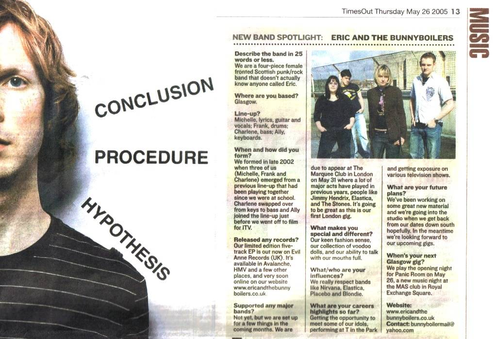 ERIC AND THE BUNNY BOILERS INTERVIEW - EVENING TIMES: