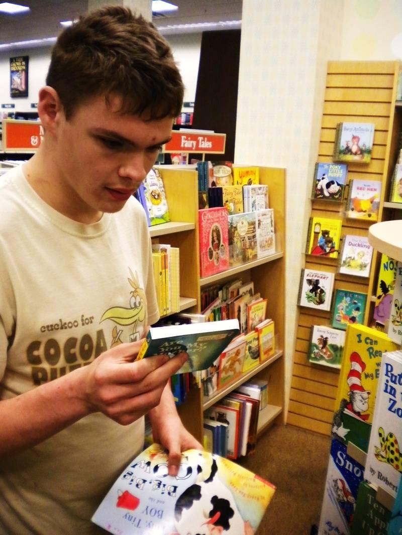 Ben and a book, September 26, 2009