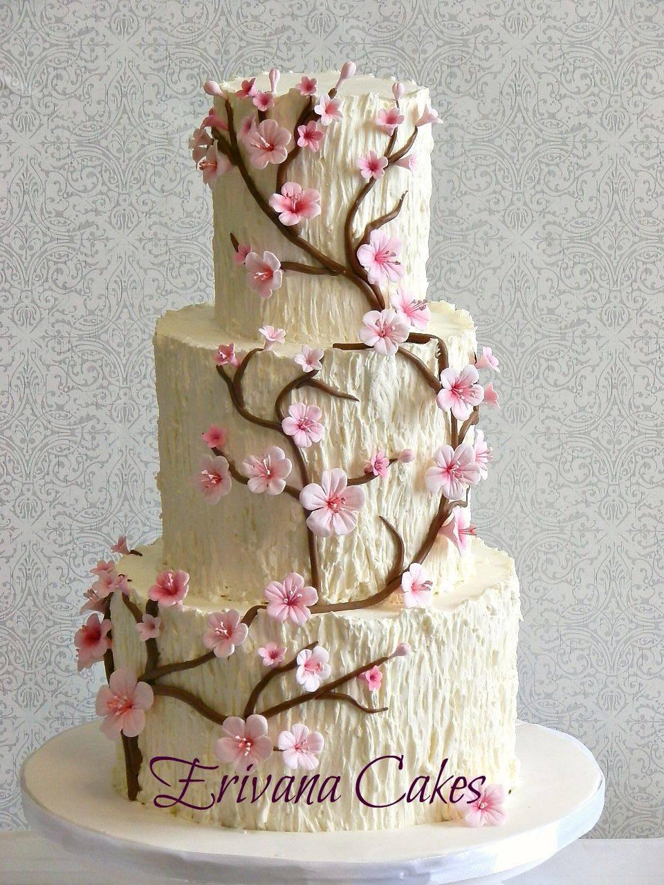 Tree Trunk Cherry Blossom Wedding Cake