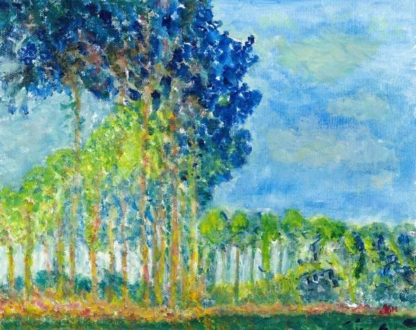 Interpretation of Poplars by Monet