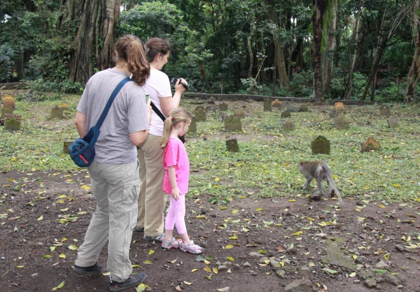 Lilah Sciaky, Noelle Gunst, and Maya doing observations in the Cemetery area of the Ubud Monkey Forest (Bali, May 2017)