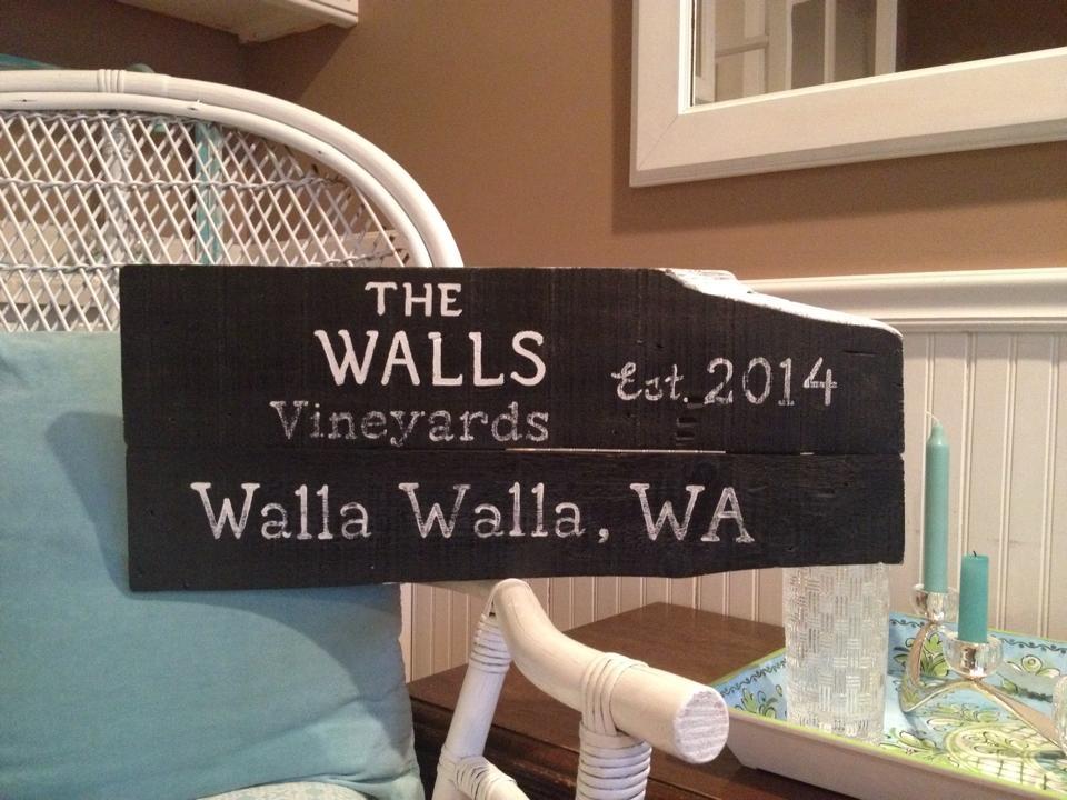 The Walls vineyard sign