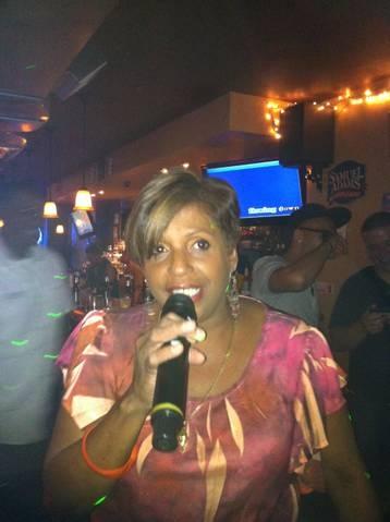 Mara bringing her singing style and grace to the crowd at Carmen & Patty's Birthday Celebration (502 Bar Lounge's Social Saturday Karaoke Night)!