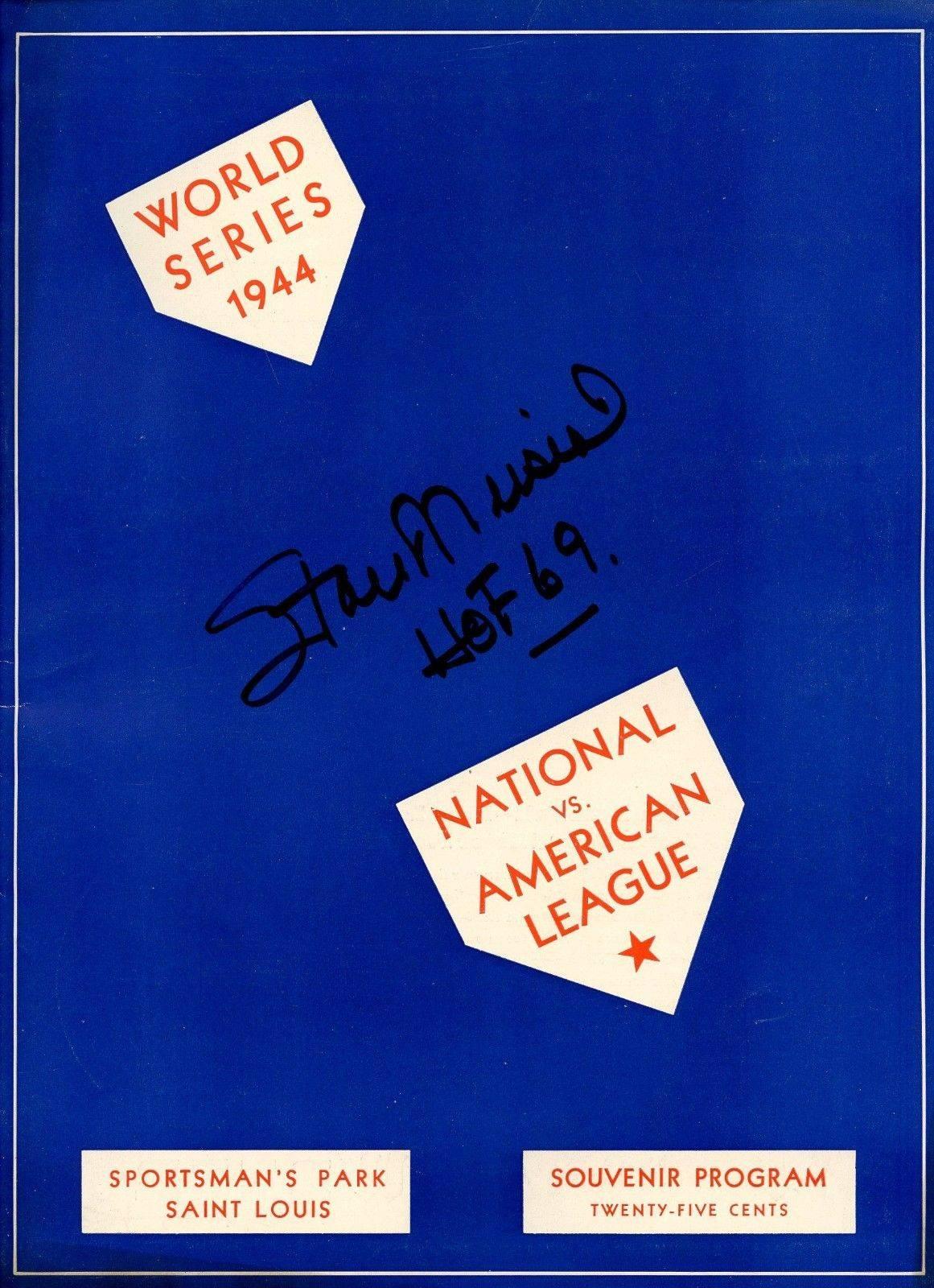 Stan Musial HOF Cardinals Signed 1944 World Series Program Unscored AUTO JSA LOA