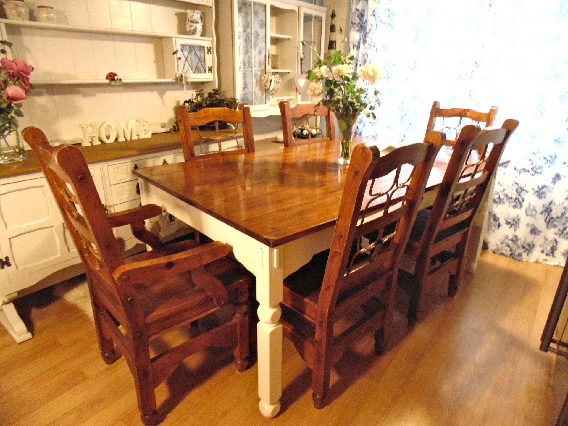 Rustic Solid Wood Large Table & 6 Chairs, Painted in F & B Clunch
