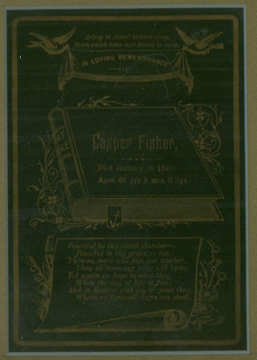 Casper Fisher Funeral Card