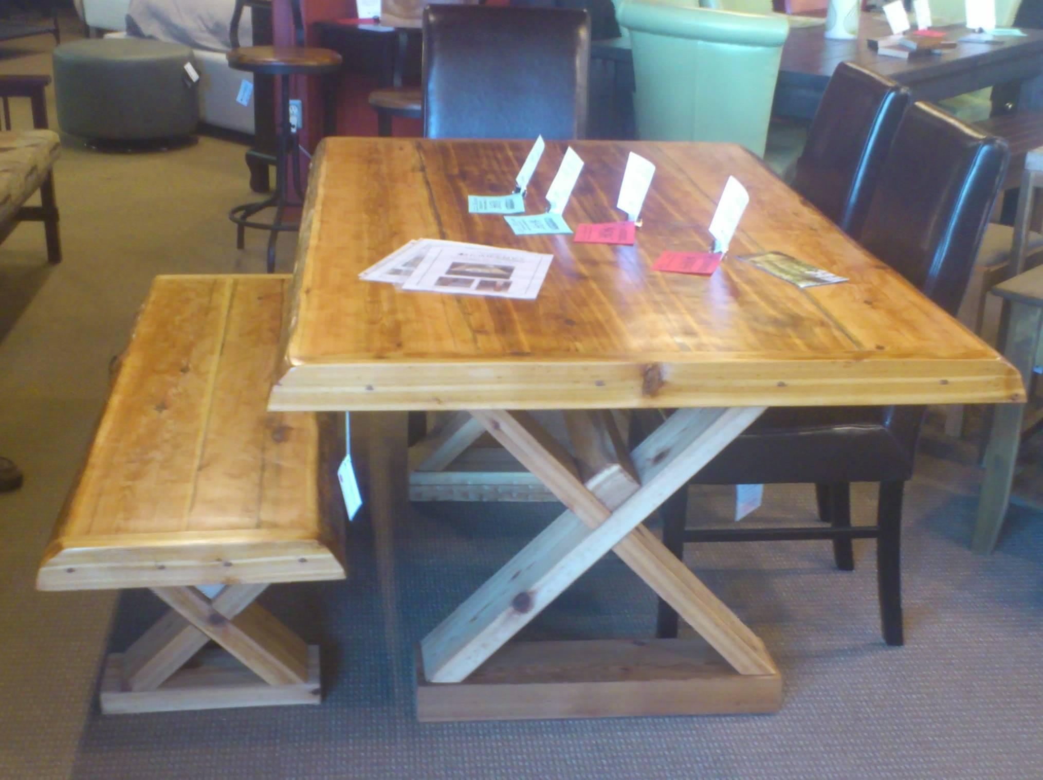Cedar table and bench set