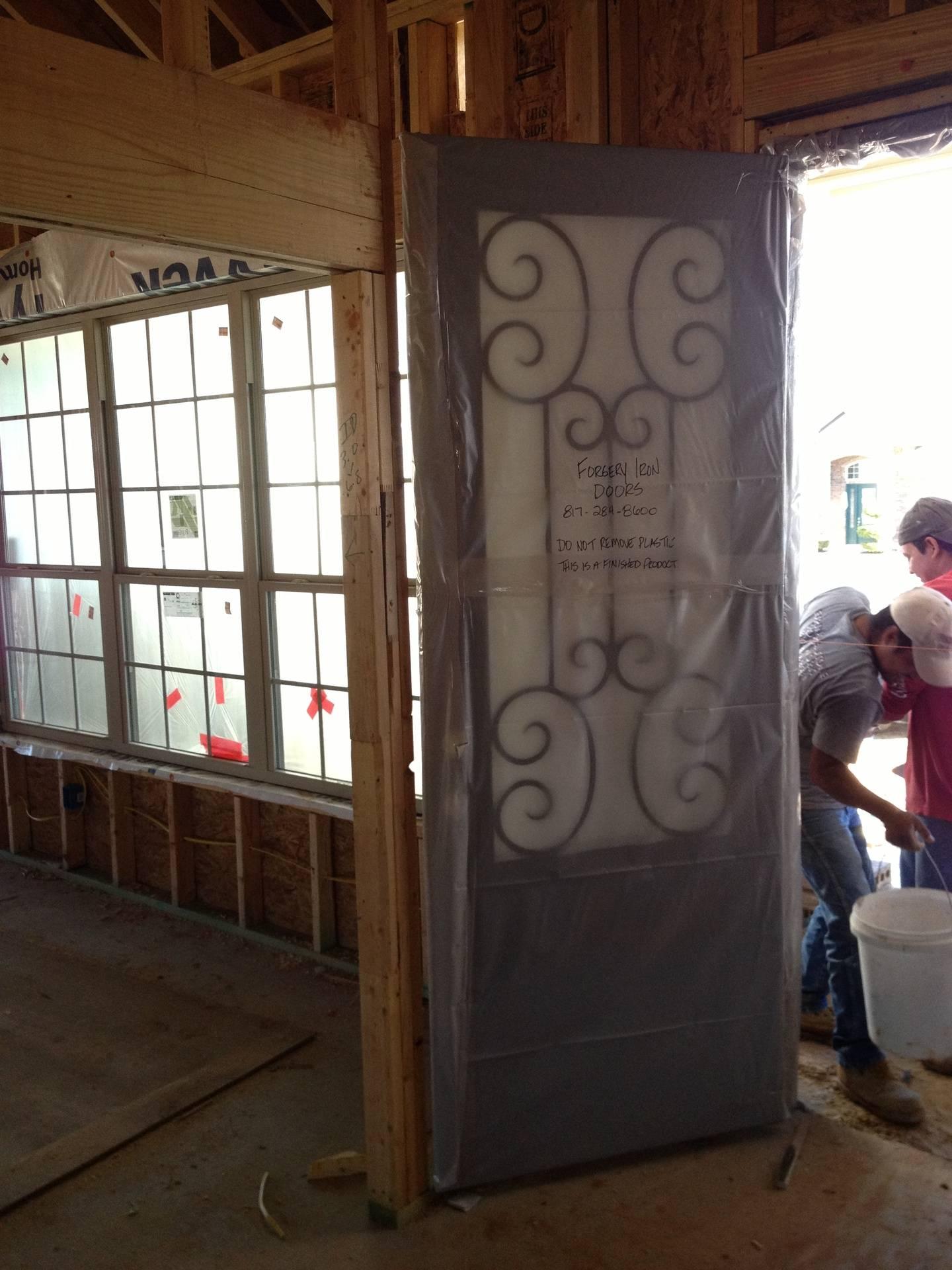 8 foot custom iron and glass foor