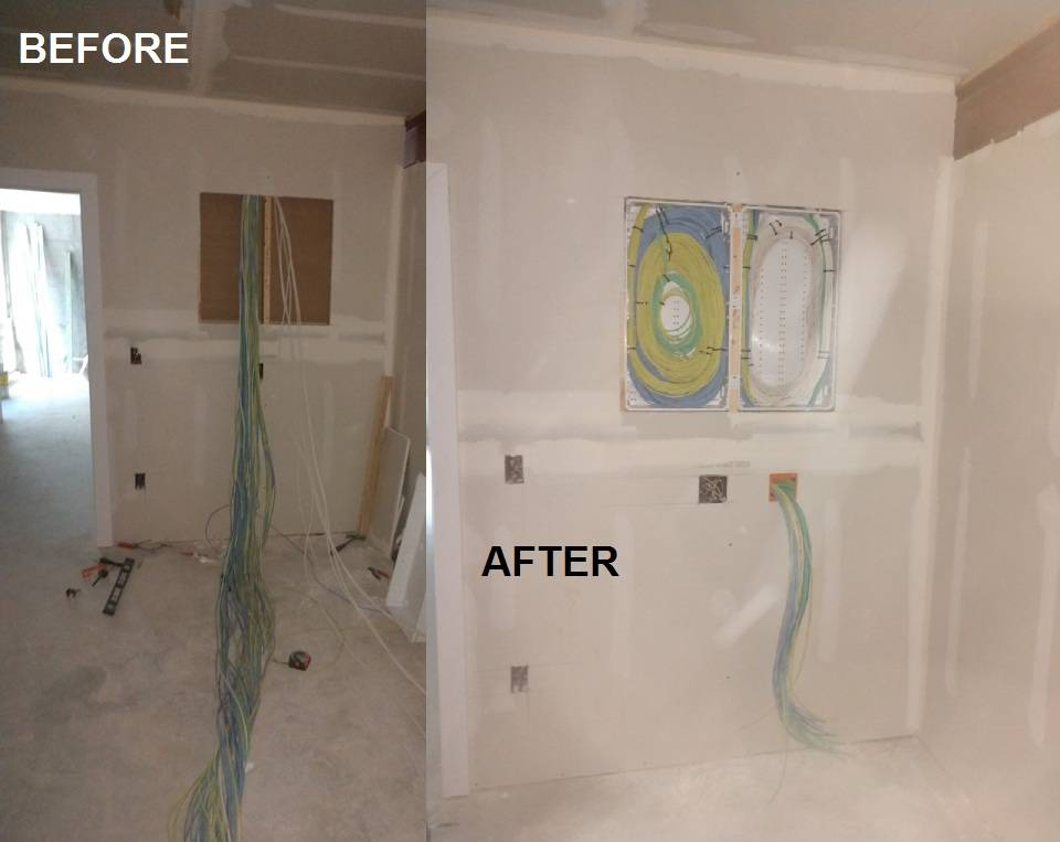 Cleaning up someone else's prewire mess! Before and After!