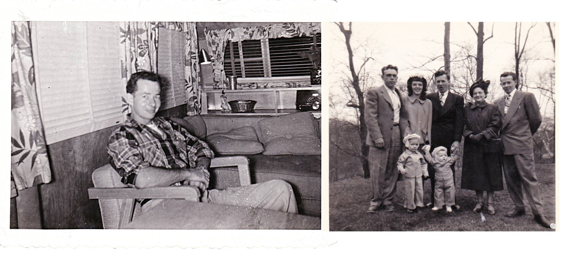 George Bowers (left photo) and George with his family late 1940's.