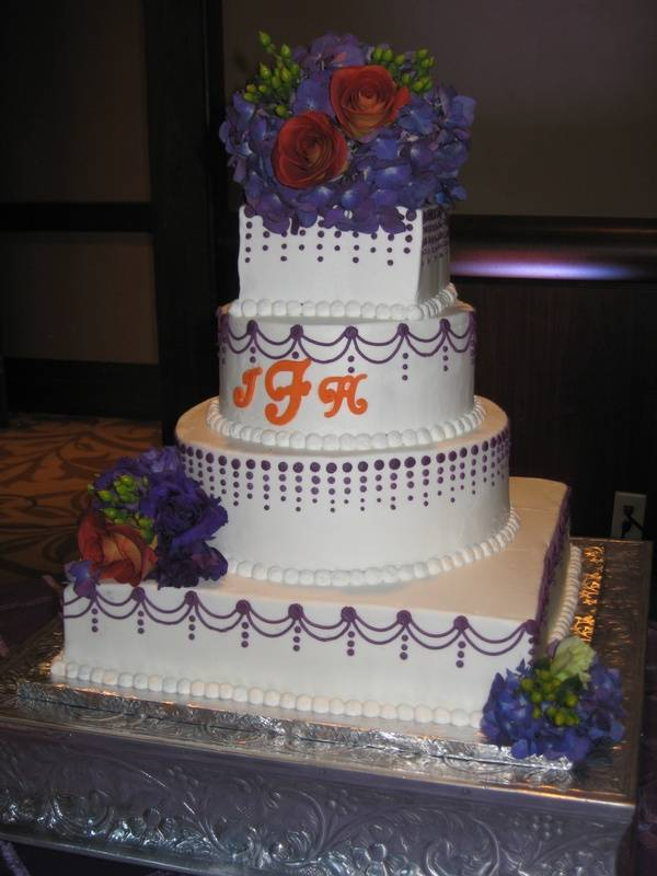 Dots and Swags Wedding Cake