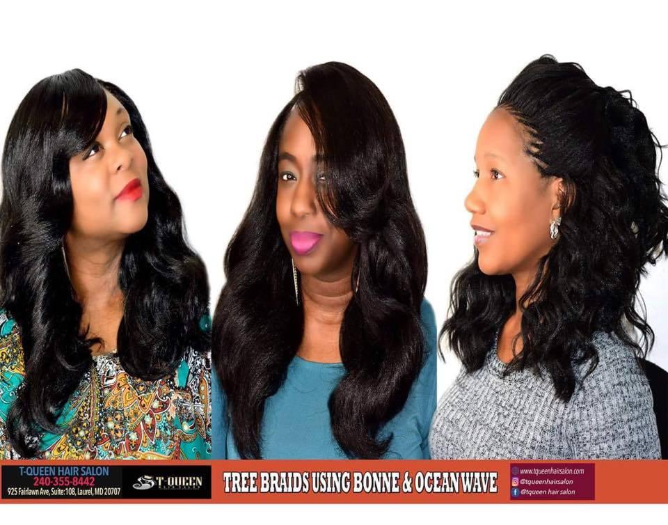 Tqueen Tree Braids using Bonne & Ocean Wave Hair