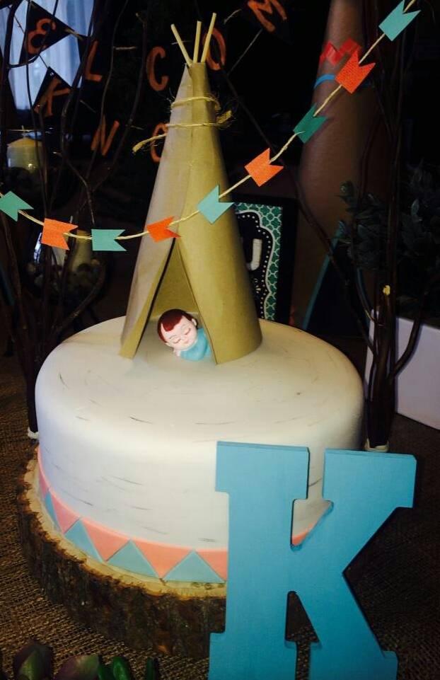 Tee Pee Cake with Baby in Tee Pee