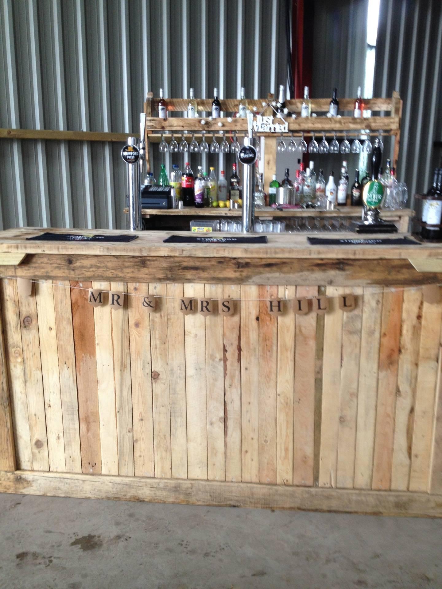 The vintage bar in a farm barn