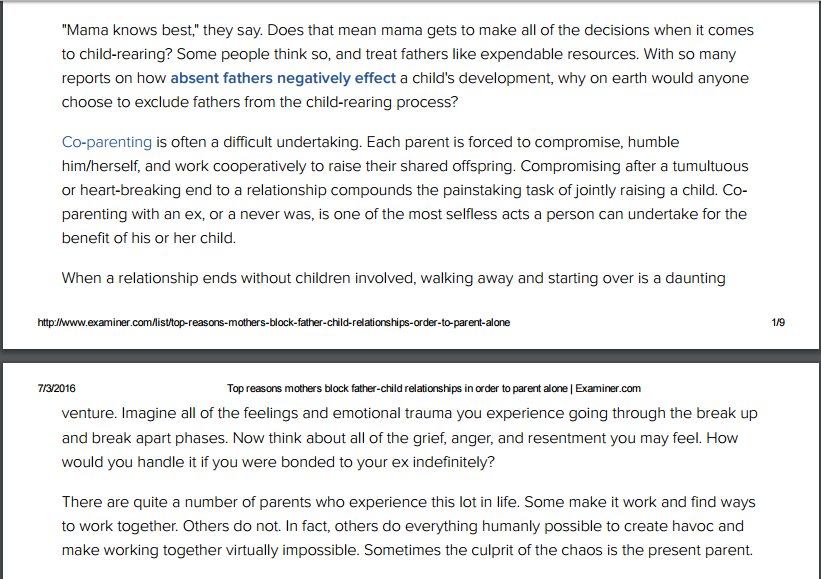Top reasons mothers block father-child relationships in order to parent alone (snapshot)