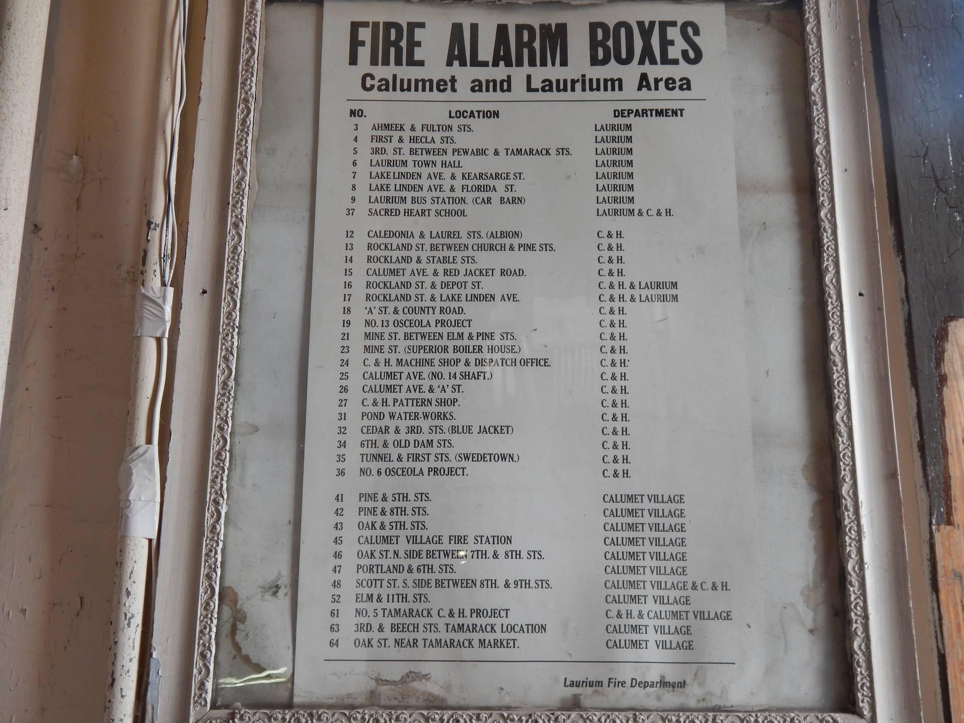Calumet area Fire Alarm Box locations