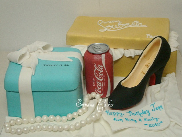 Louboutin Shoe and  box cake, Tiffany Gift Box and Can Coke Cake (SP003)