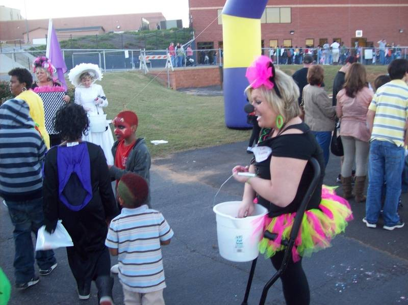 Handing out candy to the little ones!