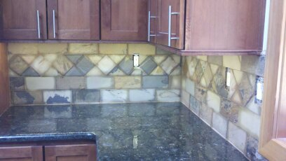 Custom Slate Backsplash (All Pieces were Hand Cut)