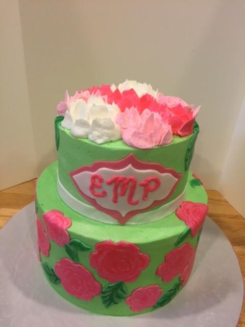 Pink Peony Graduation Cake