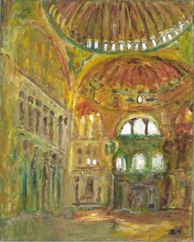 1892 Interpretation of John Singer Sargent - Interior of Hagia Sophia