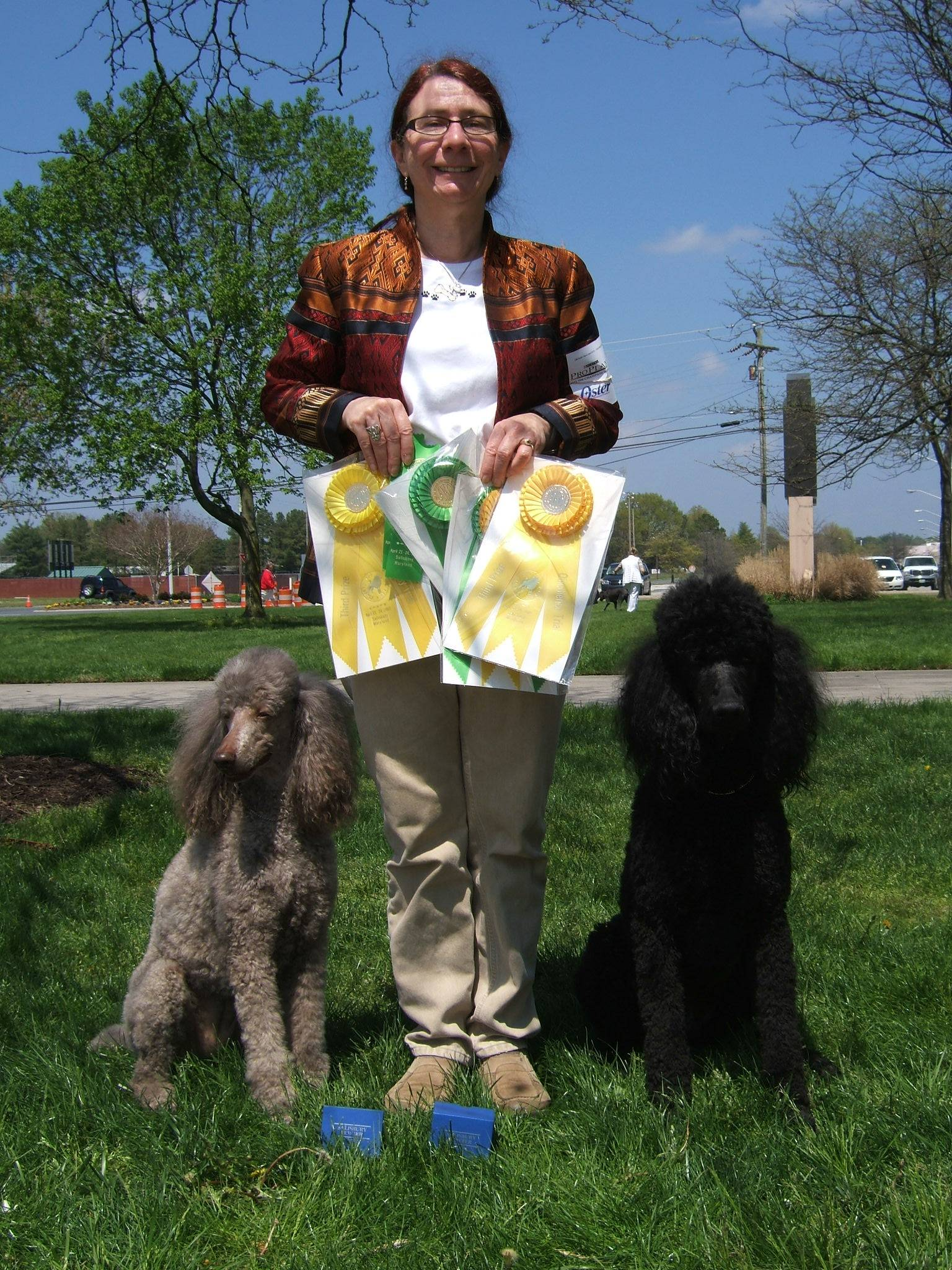 Amber winning Rally Advanced B third place, and Maxwell with new CD title and winning third place at PCA National Specialty.  4/21/09.