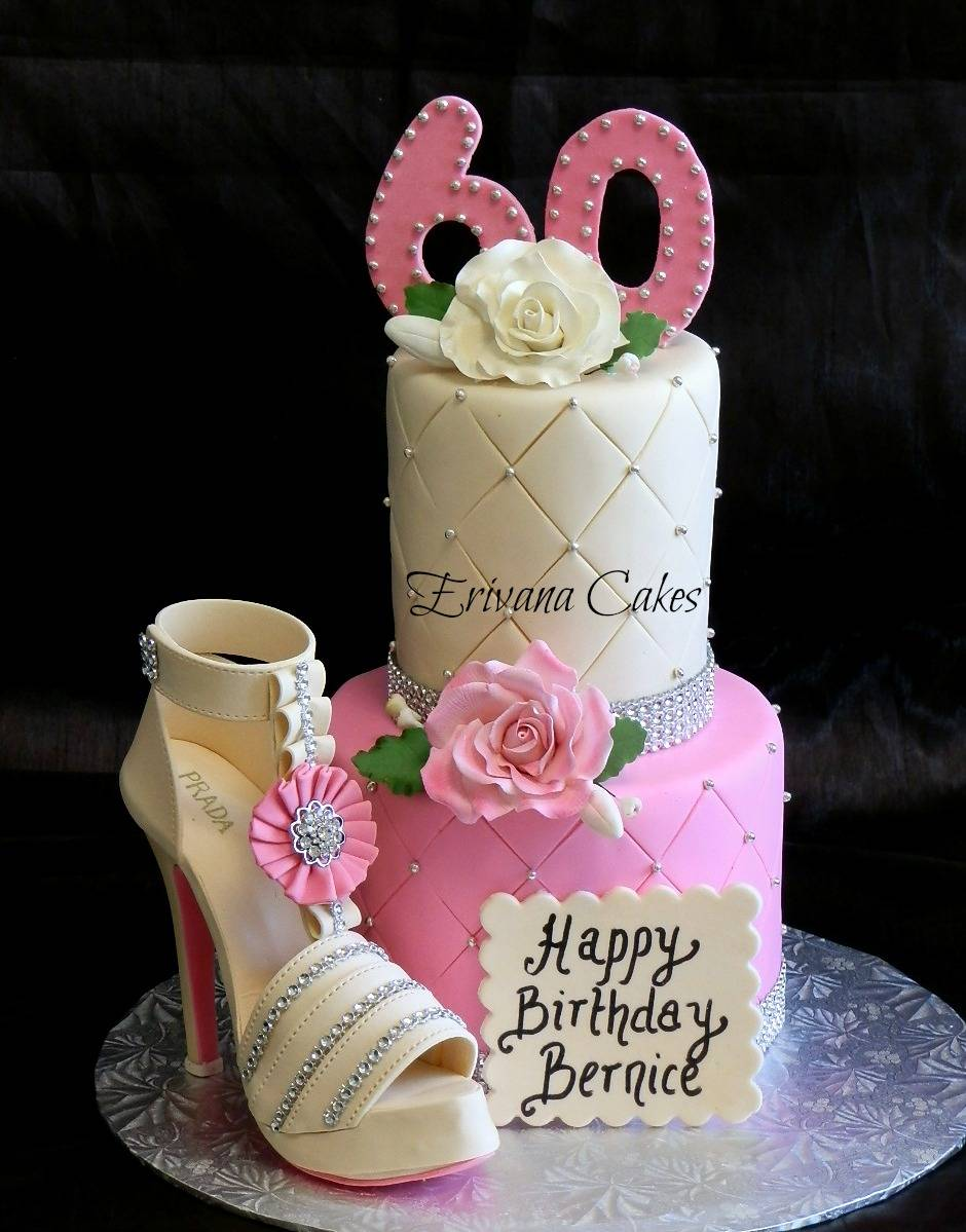 Pink and Ivory cake with gumpaste shoe