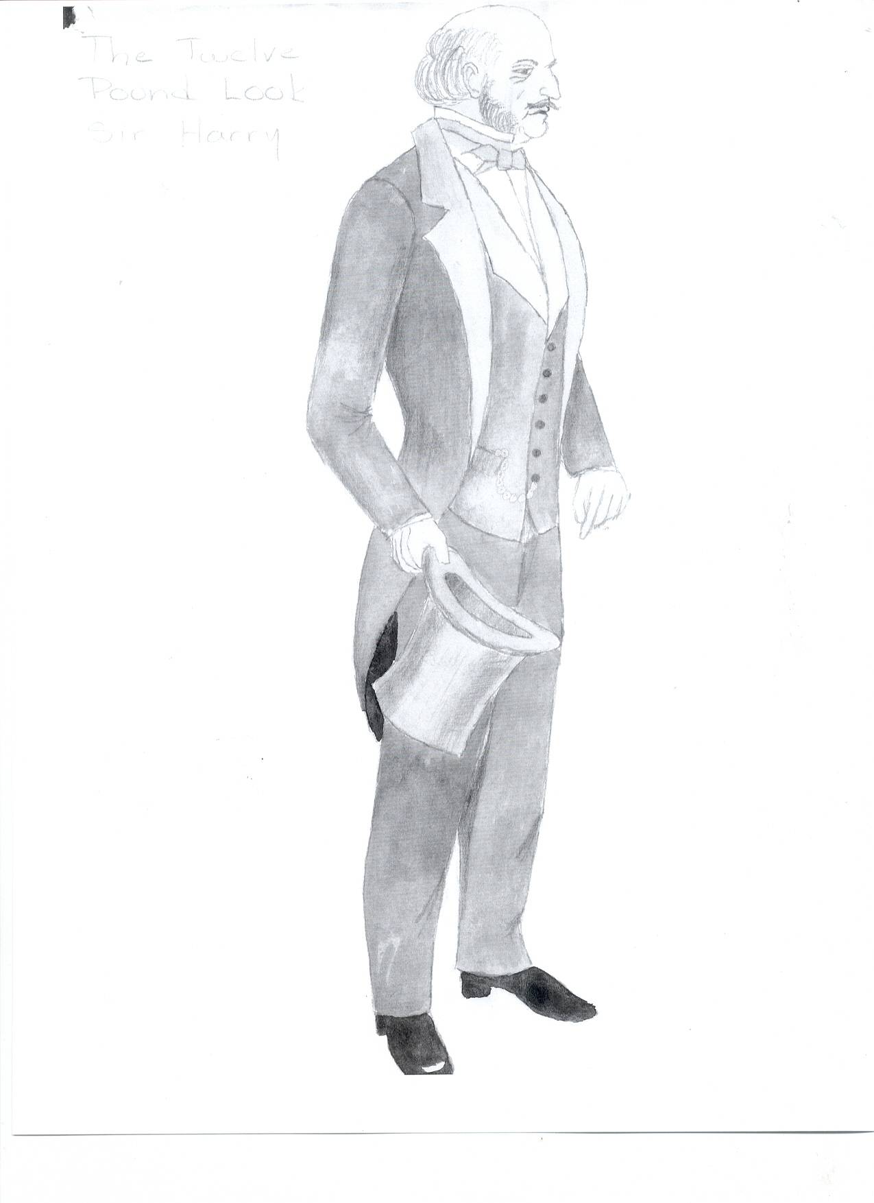 "Costume rendering for Sir Harry, ""The Twelve Pound Look"""