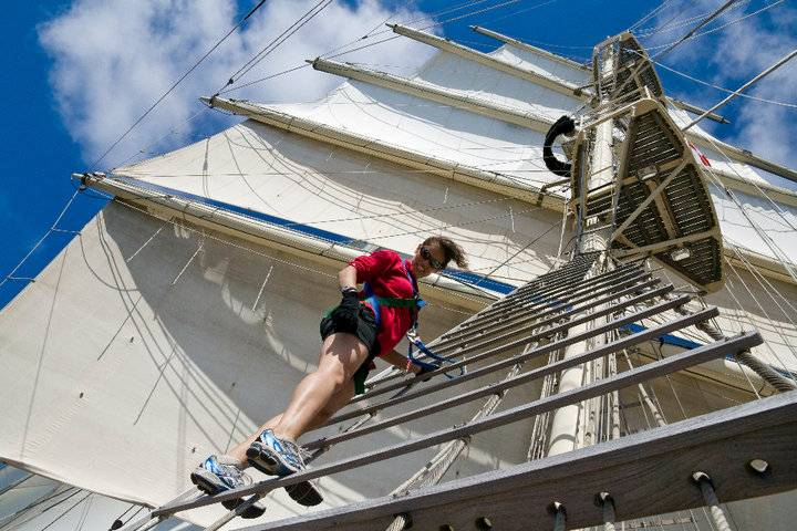 A good day to visit the mast head on Tenacious